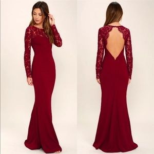 NWT Lulus Whenever You Call Wine Lace Maxi Dress